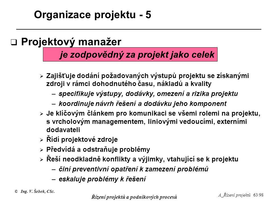 © Ing. V. Šebek, CSc. Řízení projektů a podnikových procesů A_Řízení projektů 63/98 Organizace projektu - 5  Projektový manažer  Zajišťuje dodání po