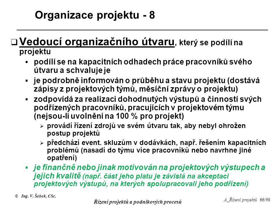 © Ing. V. Šebek, CSc. Řízení projektů a podnikových procesů A_Řízení projektů 66/98 Organizace projektu - 8  Vedoucí organizačního útvaru, který se p