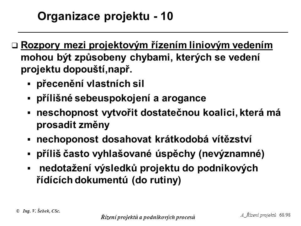 © Ing. V. Šebek, CSc. Řízení projektů a podnikových procesů A_Řízení projektů 68/98 Organizace projektu - 10  Rozpory mezi projektovým řízením liniov