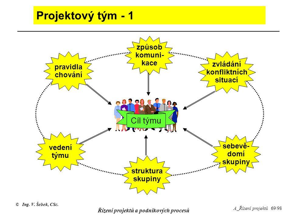 © Ing. V. Šebek, CSc. Řízení projektů a podnikových procesů A_Řízení projektů 69/98 Projektový tým - 1 Cíl týmu sebevě- domí skupiny zvládání konflikt
