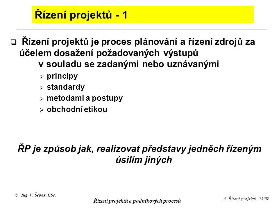 © Ing. V. Šebek, CSc. Řízení projektů a podnikových procesů A_Řízení projektů 74/98 Řízení projektů - 1  Řízení projektů je proces plánování a řízení