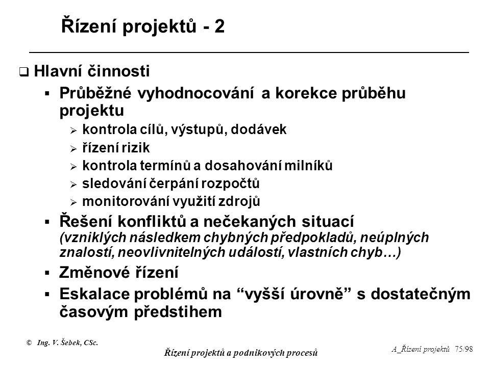 © Ing. V. Šebek, CSc. Řízení projektů a podnikových procesů A_Řízení projektů 75/98 Řízení projektů - 2  Hlavní činnosti  Průběžné vyhodnocování a k