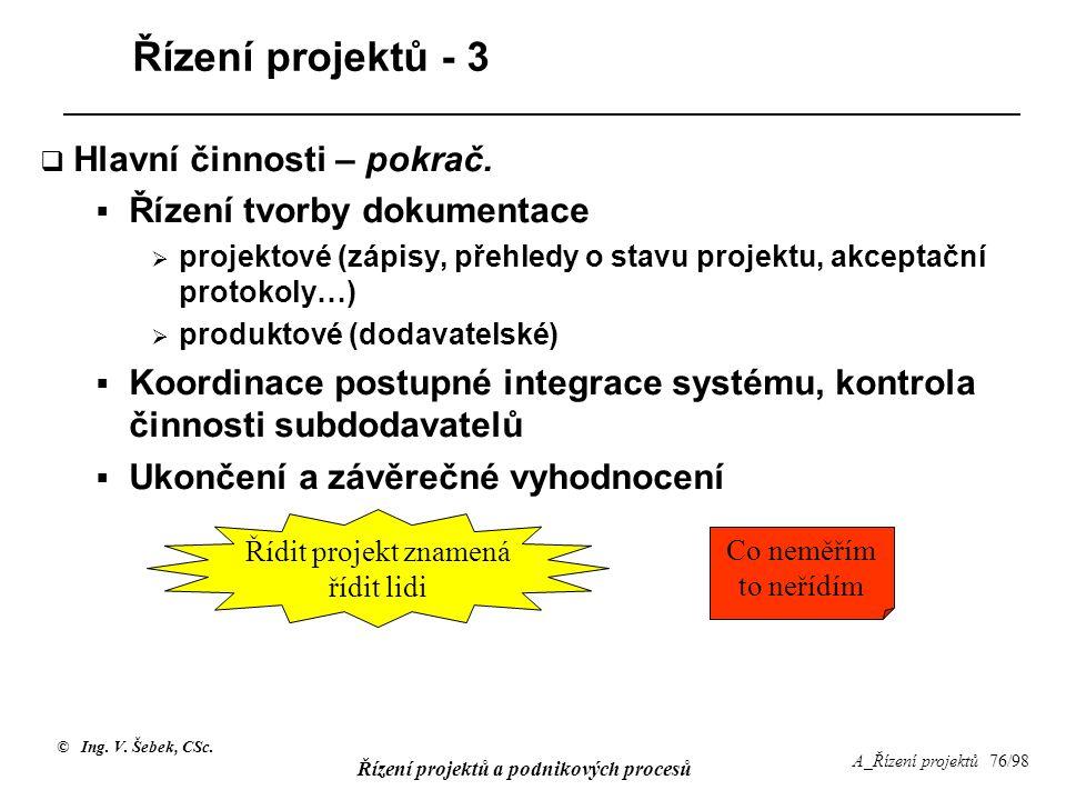 © Ing. V. Šebek, CSc. Řízení projektů a podnikových procesů A_Řízení projektů 76/98 Řízení projektů - 3  Hlavní činnosti – pokrač.  Řízení tvorby do