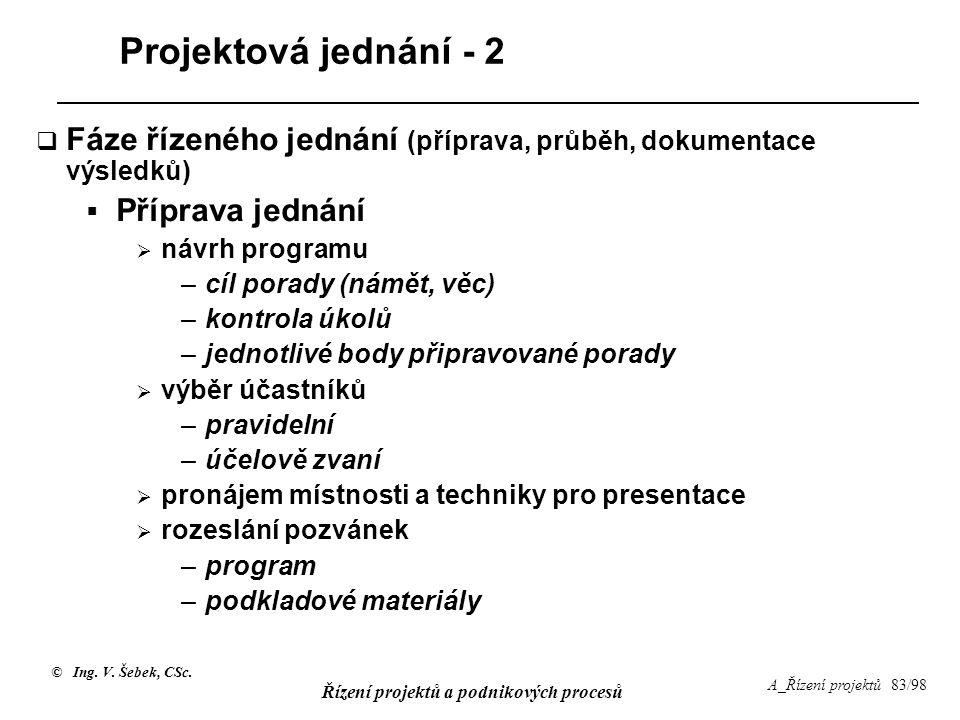 © Ing. V. Šebek, CSc. Řízení projektů a podnikových procesů A_Řízení projektů 83/98 Projektová jednání - 2  Fáze řízeného jednání (příprava, průběh,