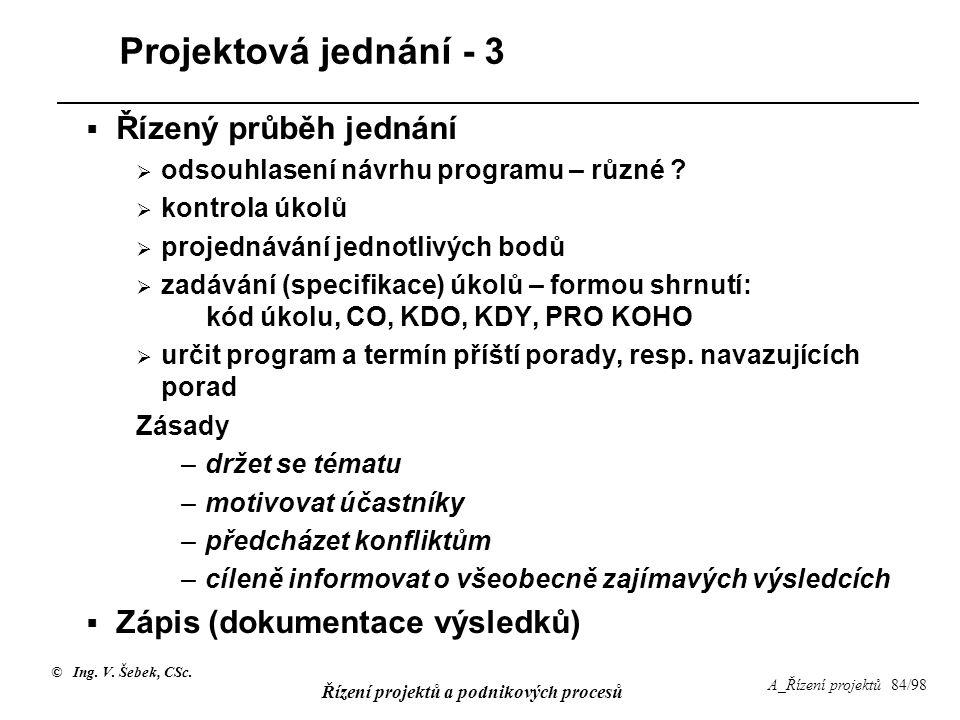© Ing. V. Šebek, CSc. Řízení projektů a podnikových procesů A_Řízení projektů 84/98 Projektová jednání - 3  Řízený průběh jednání  odsouhlasení návr