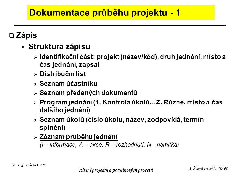 © Ing. V. Šebek, CSc. Řízení projektů a podnikových procesů A_Řízení projektů 85/98 Dokumentace průběhu projektu - 1  Zápis  Struktura zápisu  Iden