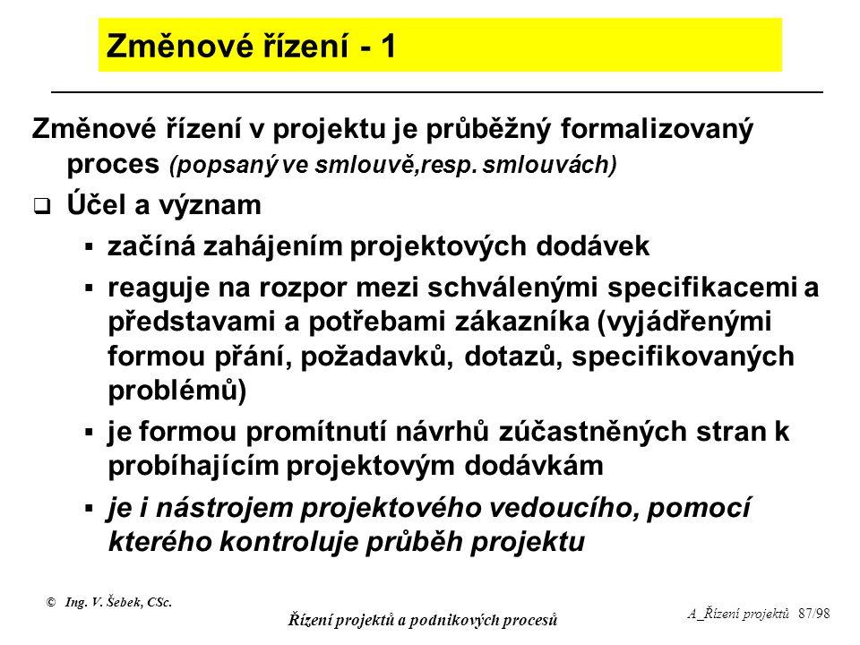 © Ing. V. Šebek, CSc. Řízení projektů a podnikových procesů A_Řízení projektů 87/98 Změnové řízení - 1 Změnové řízení v projektu je průběžný formalizo