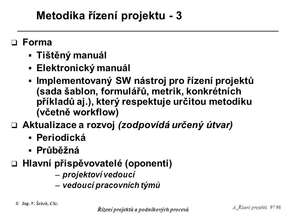 © Ing. V. Šebek, CSc. Řízení projektů a podnikových procesů A_Řízení projektů 97/98 Metodika řízení projektu - 3  Forma  Tištěný manuál  Elektronic