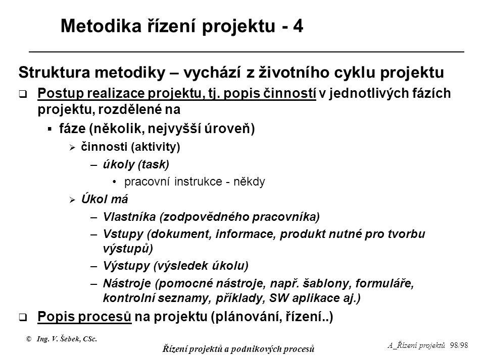 © Ing. V. Šebek, CSc. Řízení projektů a podnikových procesů A_Řízení projektů 98/98 Metodika řízení projektu - 4 Struktura metodiky – vychází z životn