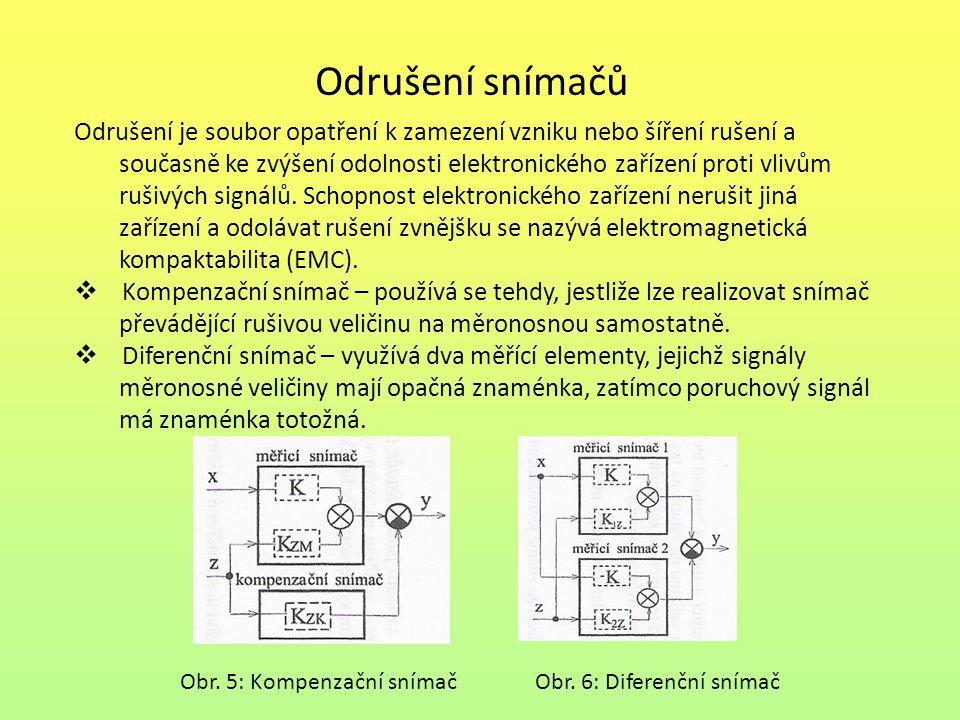 Odrušení snímačů Odrušení je soubor opatření k zamezení vzniku nebo šíření rušení a současně ke zvýšení odolnosti elektronického zařízení proti vlivům