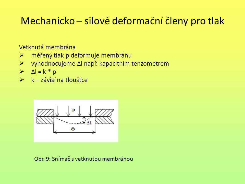 Mechanicko – silové deformační členy pro tlak Vetknutá membrána  měřený tlak p deformuje membránu  vyhodnocujeme Δl např. kapacitním tenzometrem  Δ