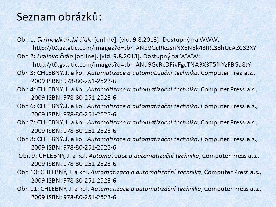 Seznam obrázků: Obr. 1: Termoelktrické čidlo [online]. [vid. 9.8.2013]. Dostupný na WWW: http://t0.gstatic.com/images?q=tbn:ANd9GcRIczsnNX8N8k43IRcS8h
