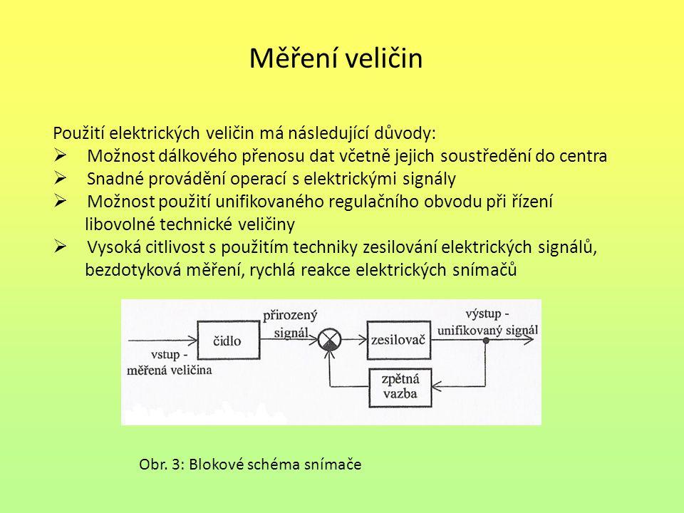 Měření veličin Použití elektrických veličin má následující důvody:  Možnost dálkového přenosu dat včetně jejich soustředění do centra  Snadné provád