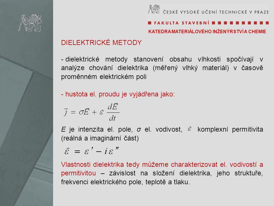 KATEDRA MATERIÁLOVÉHO INŽENÝRSTVÍ A CHEMIE DIELEKTRICKÉ METODY - dielektrické metody stanovení obsahu vlhkosti spočívají v analýze chování dielektrika