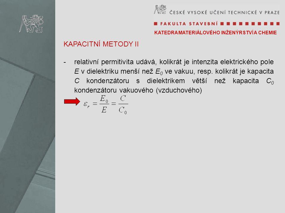 KATEDRA MATERIÁLOVÉHO INŽENÝRSTVÍ A CHEMIE KAPACITNÍ METODY II -relativní permitivita udává, kolikrát je intenzita elektrického pole E v dielektriku menší než E 0 ve vakuu, resp.