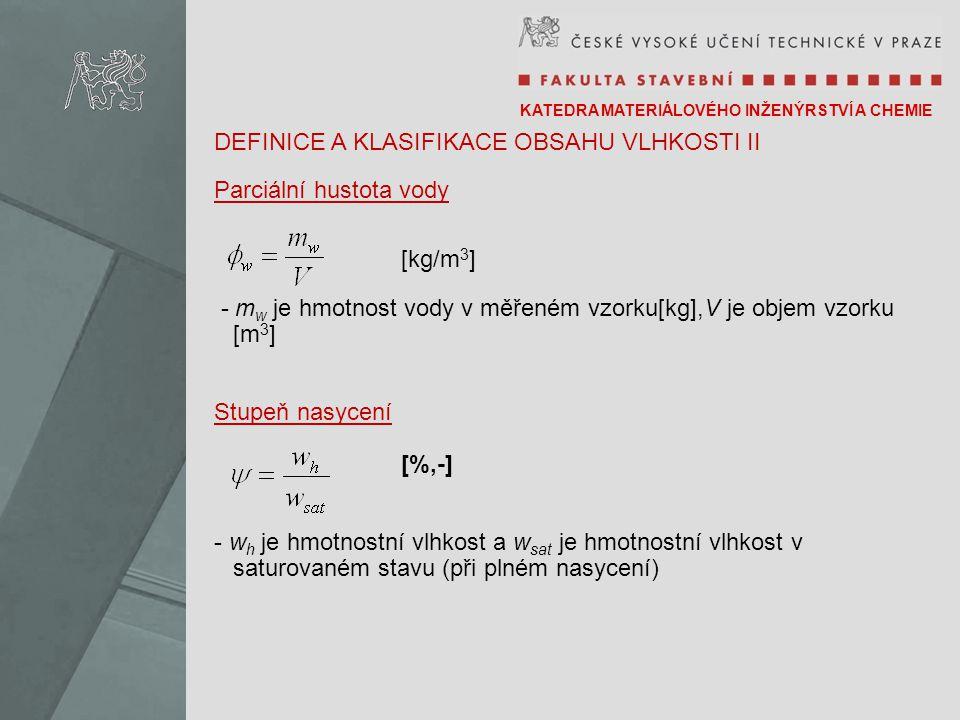 KATEDRA MATERIÁLOVÉHO INŽENÝRSTVÍ A CHEMIE DEFINICE A KLASIFIKACE OBSAHU VLHKOSTI II Parciální hustota vody [kg/m 3 ] - m w je hmotnost vody v měřeném vzorku[kg],V je objem vzorku [m 3 ] Stupeň nasycení [%,-] - w h je hmotnostní vlhkost a w sat je hmotnostní vlhkost v saturovaném stavu (při plném nasycení)