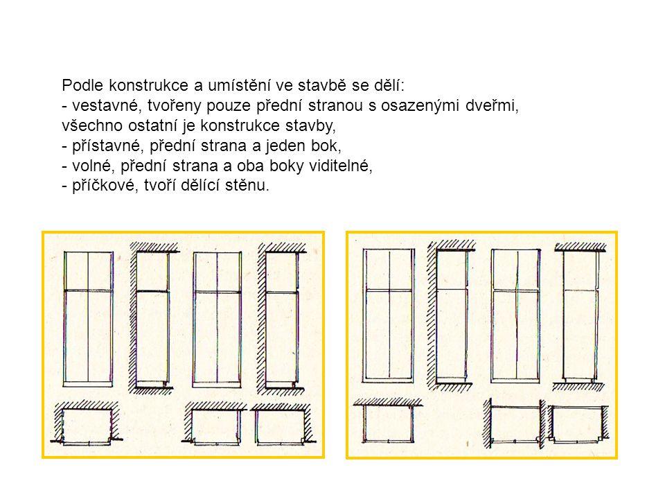 Vyrábí se v modulových řadách od 450 mm šířky, a hloubky 300, 450, 600 mm, výšky podle světlé výšky místnosti, obvykle 2600mm v provedení jedno, dvou a více dveřové.