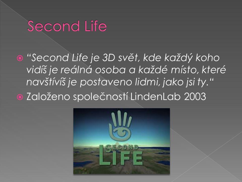  Second Life je 3D svět, kde každý koho vidíš je reálná osoba a každé místo, které navštívíš je postaveno lidmi, jako jsi ty.  Založeno společností LindenLab 2003