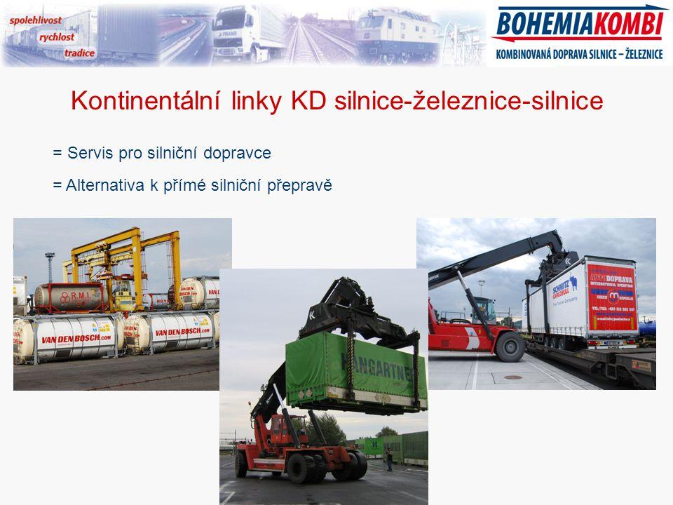 Kontinentální linky KD silnice-železnice-silnice = Servis pro silniční dopravce = Alternativa k přímé silniční přepravě