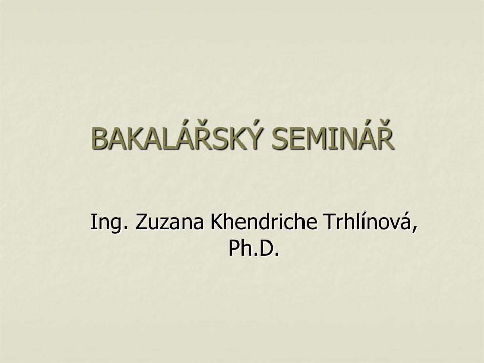 BAKALÁŘSKÝ SEMINÁŘ Ing. Zuzana Khendriche Trhlínová, Ph.D.