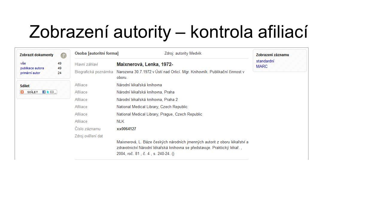 Zobrazení autority – kontrola afiliací