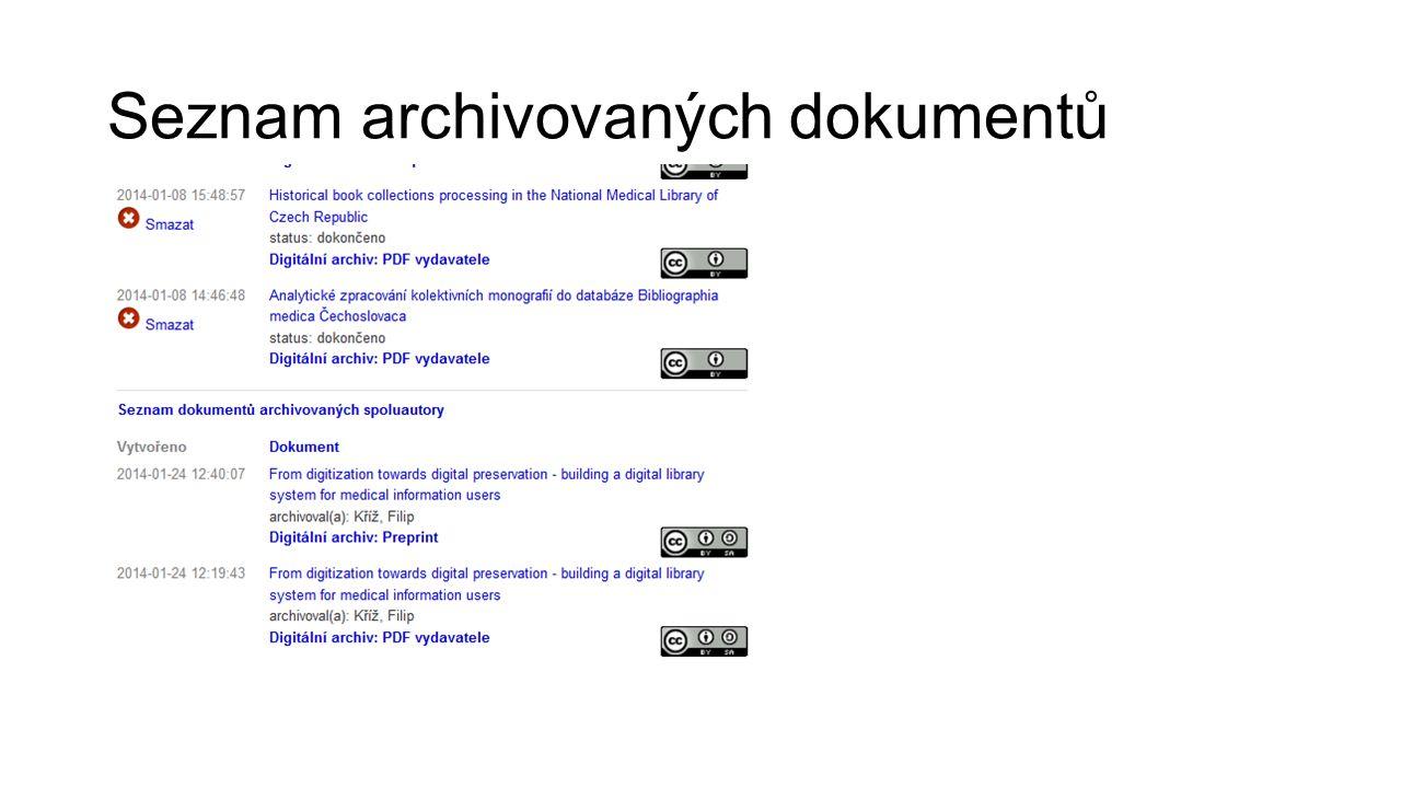 Seznam archivovaných dokumentů