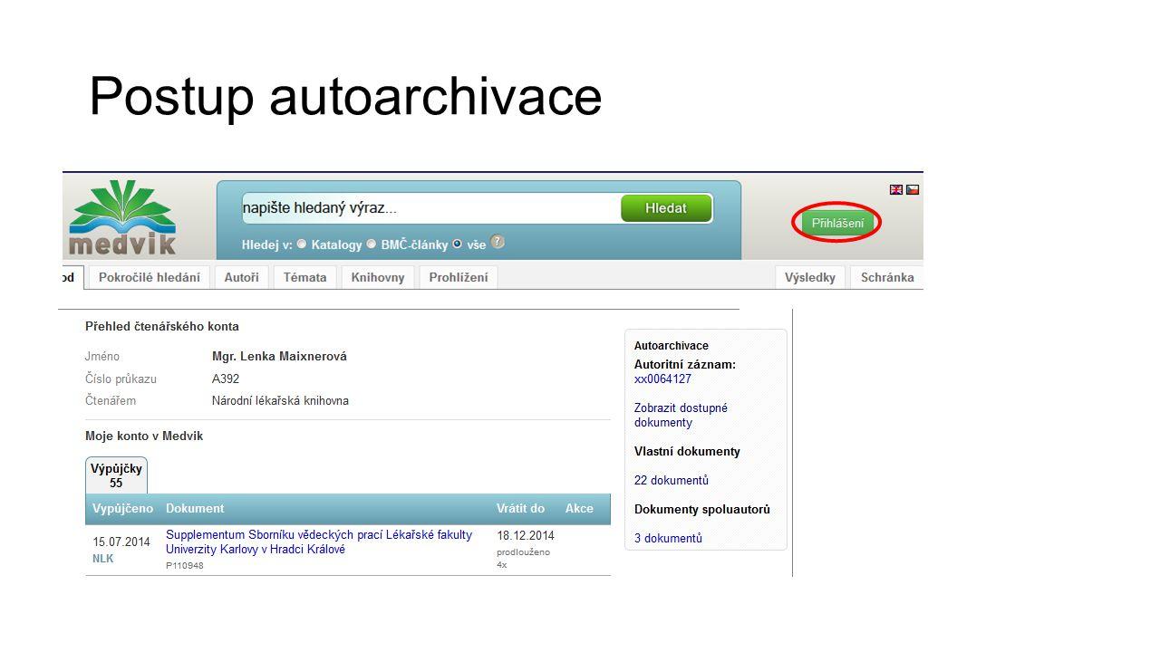 Postup autoarchivace