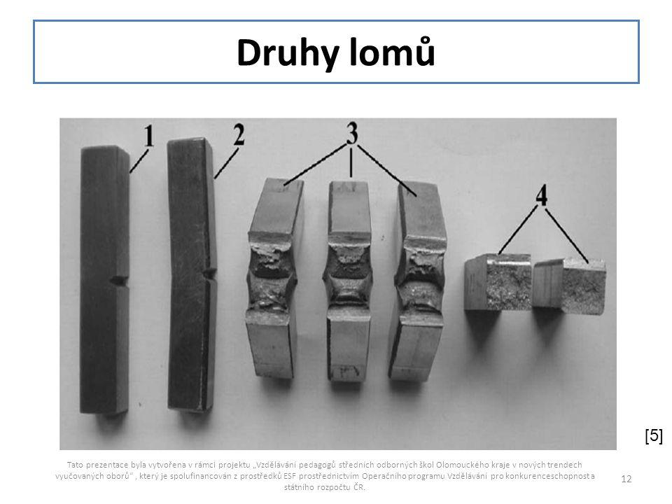 """Druhy lomů Tato prezentace byla vytvořena v rámci projektu """"Vzdělávání pedagogů středních odborných škol Olomouckého kraje v nových trendech vyučovaný"""