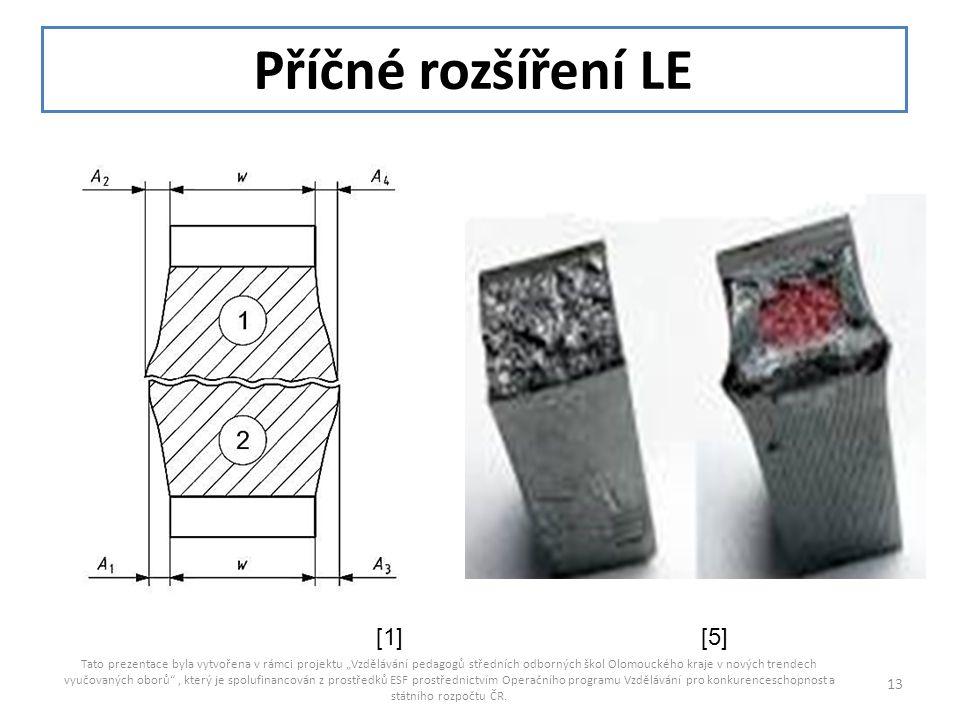 """Příčné rozšíření LE Tato prezentace byla vytvořena v rámci projektu """"Vzdělávání pedagogů středních odborných škol Olomouckého kraje v nových trendech"""