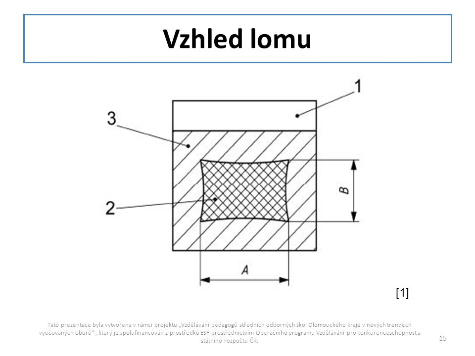 """Přechodová teplota na křivce kvx-t materiálu je možno vysledovat přechodovou (tranzitní) oblast, v níž dochází v relativně úzkém intervalu teplot k velkému poklesu nárazové práce – dá se říct, že materiál při poklesu teploty přes uvedený interval zkřehne Tato prezentace byla vytvořena v rámci projektu """"Vzdělávání pedagogů středních odborných škol Olomouckého kraje v nových trendech vyučovaných oborů , který je spolufinancován z prostředků ESF prostřednictvím Operačního programu Vzdělávání pro konkurenceschopnost a státního rozpočtu ČR."""