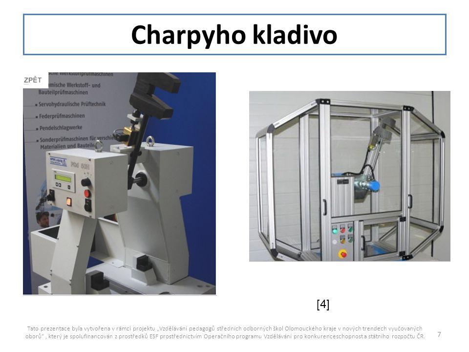 """Charpyho kladivo Tato prezentace byla vytvořena v rámci projektu """"Vzdělávání pedagogů středních odborných škol Olomouckého kraje v nových trendech vyu"""