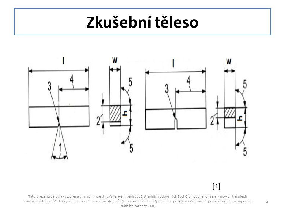 10 Označení Značka/ symbol V – vrubU – vrub Jmen.rozměr (mm) Tolerance (mm) Třída tolerance Jmen.rozměr (mm) Tolerance (mm)Třída tolerance Délka Výška -Standardní těleso -ZT redukovaného průřezu lhw lhw 55 10 10 7,5 5 2,5 ±0,60 ±0,0 ±0, 11 ±0, 06 ±0, 05 js 15 js12 js 13 js 12 js 12 55 10 10 - - ±0,60 ±0, 11 ±0, 11 - - js 15 js 13 js 13 - - Úhel vrubu145 o ±2 o - Výška pod vrubem28±0,075js125±0,09js13 Poloměr zakřivení vrubu 30,25±0,025-1±0,07js12 Vzdálenost roviny symetrie vrubu od obou konců 427,5±0,42js1527,5±042js15 Úhel mezi přilehlými povrchy zkušebního tělesa 590 o ±2 o -90 o ±2 o -