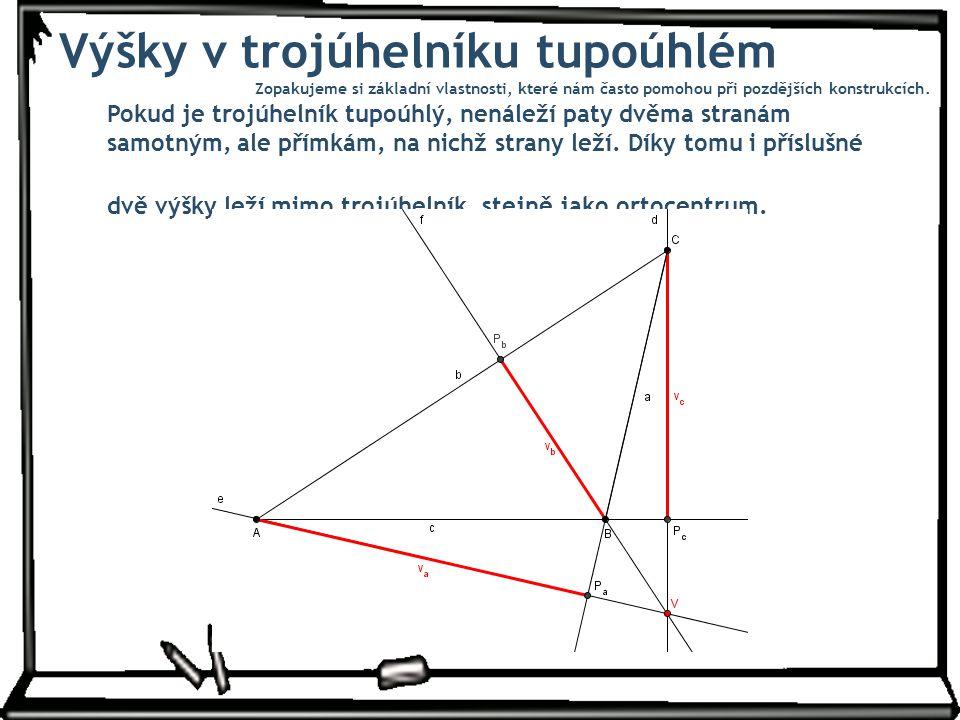 Výšky v trojúhelníku tupoúhlém Pokud je trojúhelník tupoúhlý, nenáleží paty dvěma stranám samotným, ale přímkám, na nichž strany leží. Díky tomu i pří