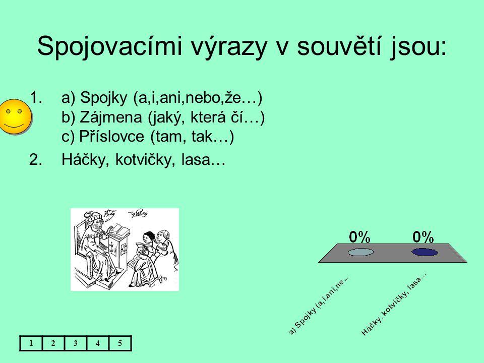 Spojovacími výrazy v souvětí jsou: 12345 1.a) Spojky (a,i,ani,nebo,že…) b) Zájmena (jaký, která čí…) c) Příslovce (tam, tak…) 2.Háčky, kotvičky, lasa…