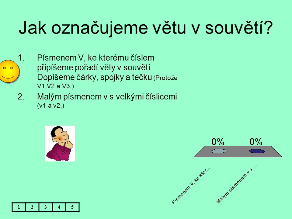 Jak označujeme větu v souvětí? 12345 1.Písmenem V, ke kterému číslem připíšeme pořadí věty v souvětí. Dopíšeme čárky, spojky a tečku (Protože V1,V2 a