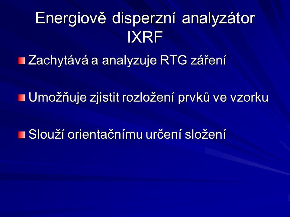 Energiově disperzní analyzátor IXRF Zachytává a analyzuje RTG záření Umožňuje zjistit rozložení prvků ve vzorku Slouží orientačnímu určení složení
