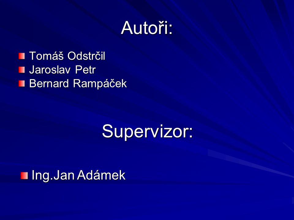 Autoři: Tomáš Odstrčil Jaroslav Petr Bernard Rampáček Supervizor: Ing.Jan Adámek
