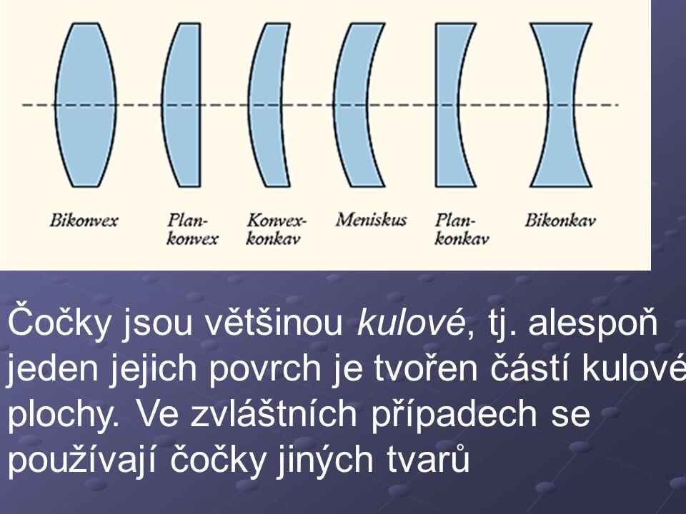 Čočky jsou většinou kulové, tj.alespoň jeden jejich povrch je tvořen částí kulové plochy.