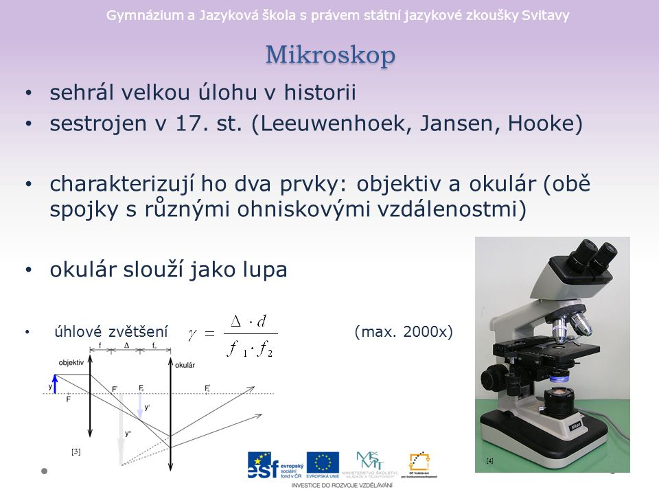 Gymnázium a Jazyková škola s právem státní jazykové zkoušky Svitavy Mikroskop sehrál velkou úlohu v historii sestrojen v 17. st. (Leeuwenhoek, Jansen,