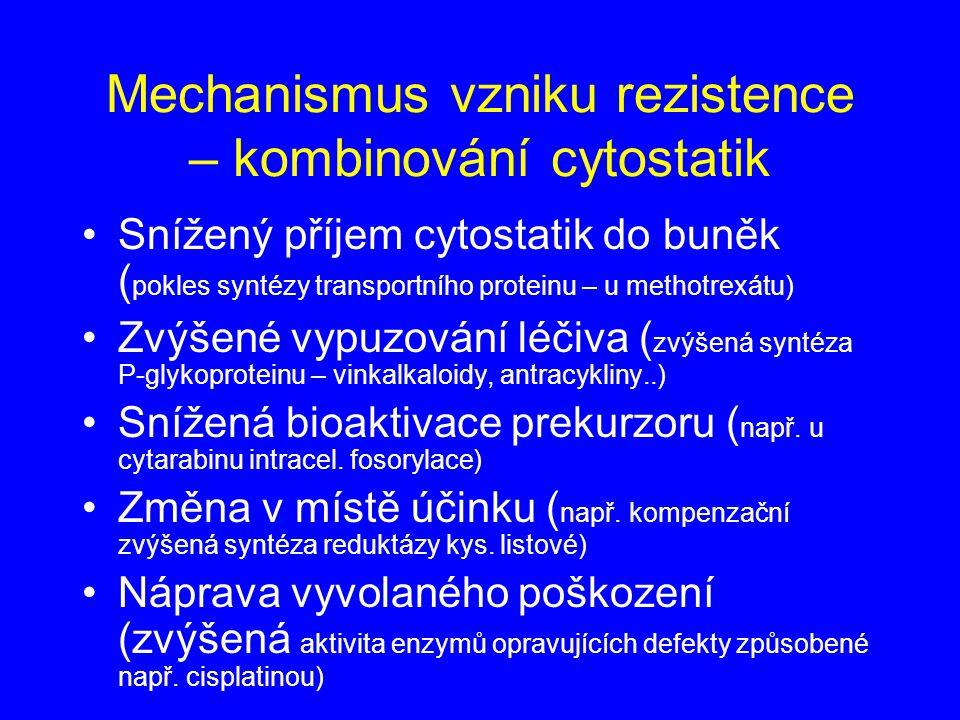 Mechanismus vzniku rezistence – kombinování cytostatik Snížený příjem cytostatik do buněk ( pokles syntézy transportního proteinu – u methotrexátu) Zv