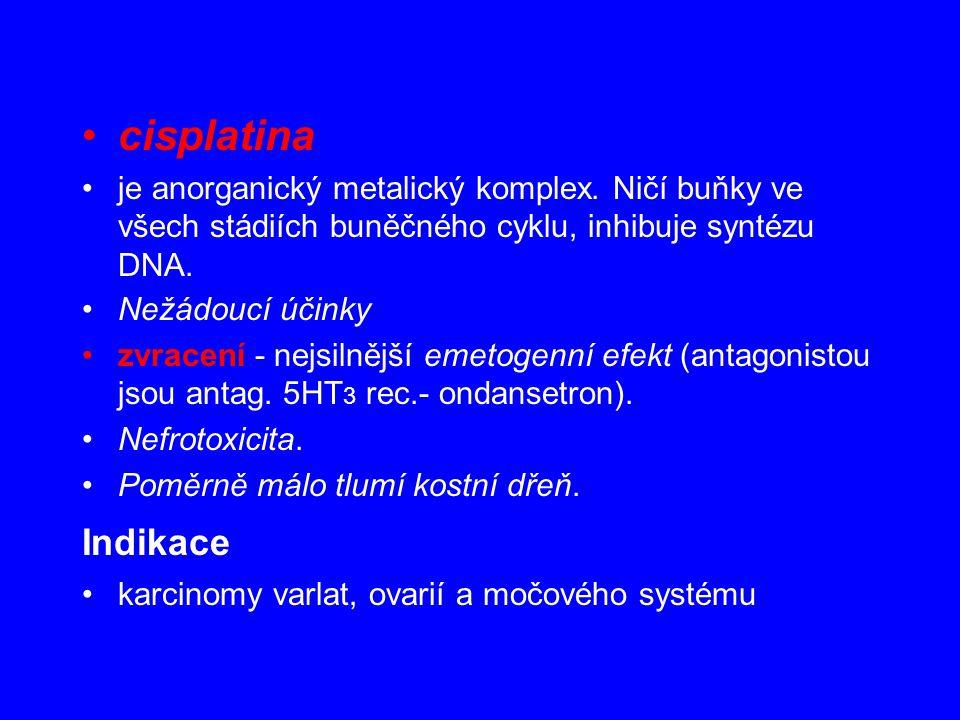 cisplatina je anorganický metalický komplex. Ničí buňky ve všech stádiích buněčného cyklu, inhibuje syntézu DNA. Nežádoucí účinky zvracení - nejsilněj