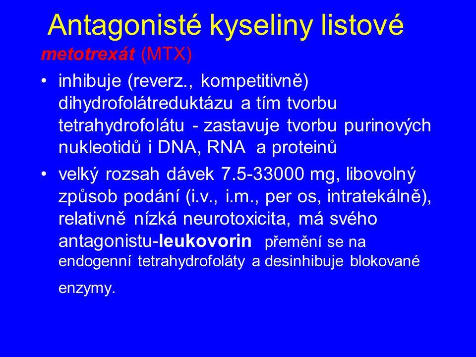 Antagonisté kyseliny listové metotrexát (MTX) inhibuje (reverz., kompetitivně) dihydrofolátreduktázu a tím tvorbu tetrahydrofolátu - zastavuje tvorbu