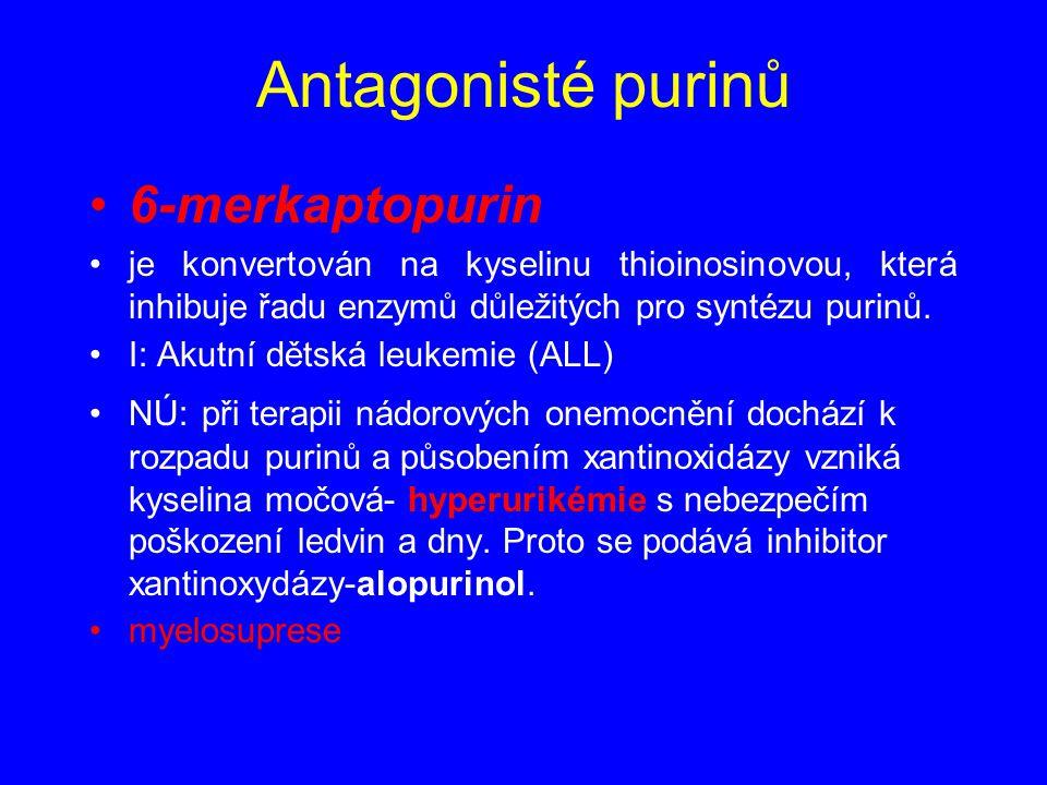 6-merkaptopurin je konvertován na kyselinu thioinosinovou, která inhibuje řadu enzymů důležitých pro syntézu purinů. I: Akutní dětská leukemie (ALL) N