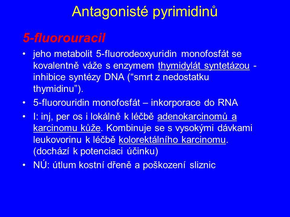 Antagonisté pyrimidinů 5-fluorouracil jeho metabolit 5-fluorodeoxyuridin monofosfát se kovalentně váže s enzymem thymidylát syntetázou - inhibice synt
