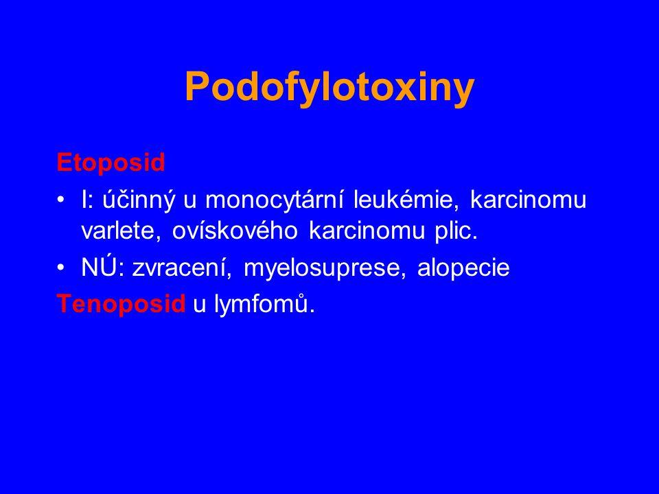 Etoposid I: účinný u monocytární leukémie, karcinomu varlete, ovískového karcinomu plic. NÚ: zvracení, myelosuprese, alopecie Tenoposid u lymfomů. Pod