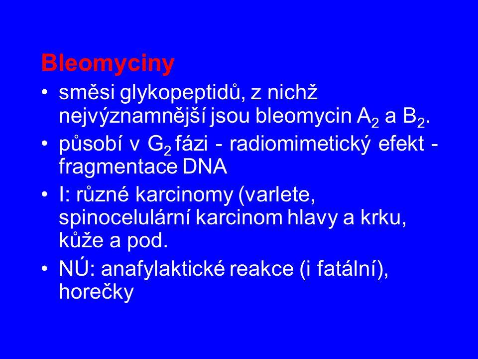 Bleomyciny směsi glykopeptidů, z nichž nejvýznamnější jsou bleomycin A 2 a B 2. působí v G 2 fázi - radiomimetický efekt - fragmentace DNA I: různé ka