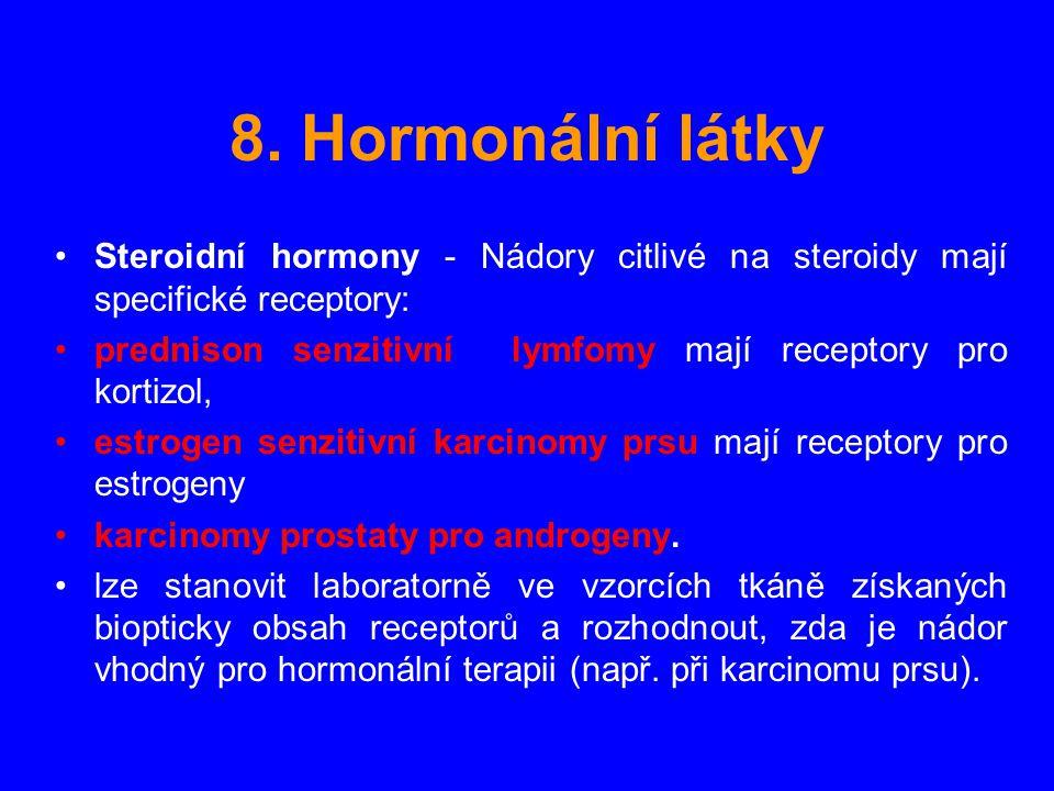 8. Hormonální látky Steroidní hormony - Nádory citlivé na steroidy mají specifické receptory: prednison senzitivní lymfomy mají receptory pro kortizol