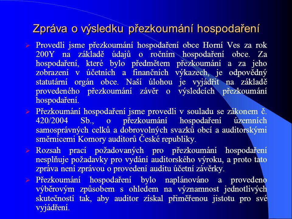 Zpráva o výsledku přezkoumání hospodaření  Provedli jsme přezkoumání hospodaření obce Horní Ves za rok 200Y na základě údajů o ročním hospodaření obce.