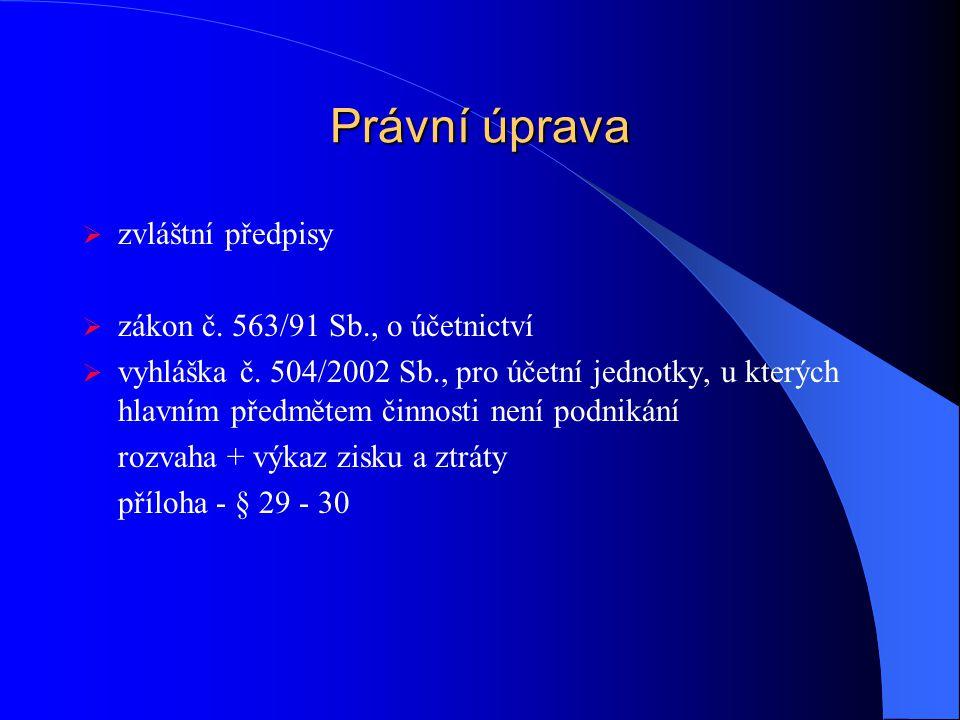 Právní úprava  zvláštní předpisy  zákon č.563/91 Sb., o účetnictví  vyhláška č.