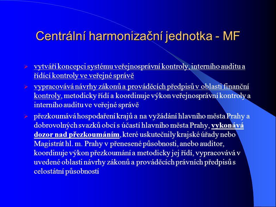 Centrální harmonizační jednotka - MF  vytváří koncepci systému veřejnosprávní kontroly, interního auditu a řídící kontroly ve veřejné správě  vypracovává návrhy zákonů a prováděcích předpisů v oblasti finanční kontroly, metodicky řídí a koordinuje výkon veřejnosprávní kontroly a interního auditu ve veřejné správě  přezkoumává hospodaření krajů a na vyžádání hlavního města Prahy a dobrovolných svazků obcí s účastí hlavního města Prahy, vykonává dozor nad přezkoumáním, které uskutečnily krajské úřady nebo Magistrát hl.